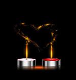 蜡烛和爱心矢量