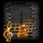 金色音符和吉他
