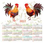 公鸡年历矢量
