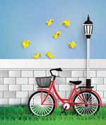 单车和黄色小鸟