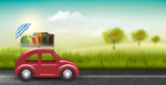 自驾游车和行李