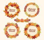 秋季树叶花环