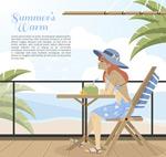 海边度假的女孩
