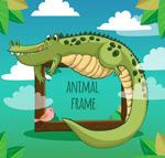 卡通野生鳄鱼框架