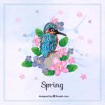 翠鸟花儿春季
