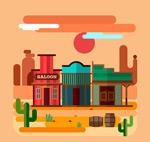 沙漠和商铺风景