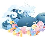 海浪里的卡通鲸鱼