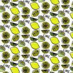 彩绘柠檬无缝背景