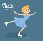 滑冰的金发女子