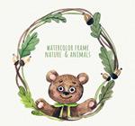 熊和树枝边框
