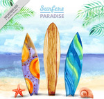 沙滩上的冲浪板