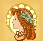 女子侧脸和头饰