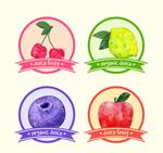 水彩绘果汁标签