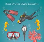 彩绘潜水元素