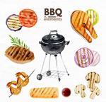 彩绘BBQ烧烤元素