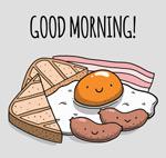 可爱卡通早餐食物