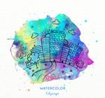 水彩绘城市风光