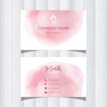 粉色水彩名片