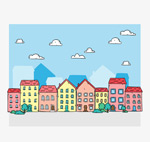 彩绘小镇楼群建筑
