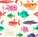 卡通鱼类无缝背景