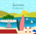 度假冲浪板插画