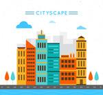 彩色城市楼群