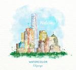 水彩城市建筑风景