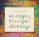 混色水彩字母