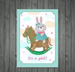 兔子迎婴贺卡