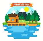 度假湖边木屋风景