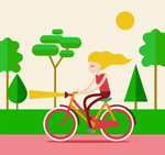骑单车的金发女子