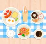 丰盛早餐俯视图