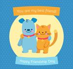 猫和狗友谊日贺卡