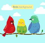树枝上的三只鸟