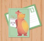 熊和礼盒祝福卡