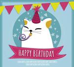 可爱白猫生日贺卡