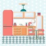 彩色整洁厨房