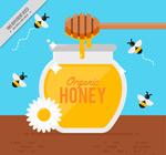 搅拌棒和蜜蜂矢量