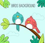 卡通树枝上的鸟