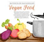 厨房里的蔬菜和锅