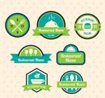 蓝绿色餐馆标签