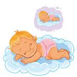云朵上睡觉的宝宝