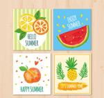 彩绘夏季水果卡片