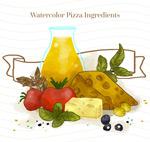 水彩绘披萨原料