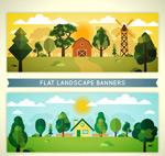农场风景矢量图