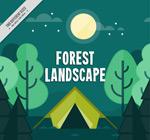 树林和帐篷风景