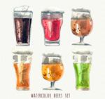 水彩绘杯装酒类