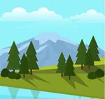 山坡树木风景矢量