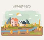 秋季河边建筑风景