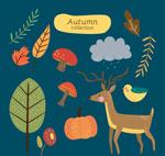 秋季动植物矢量